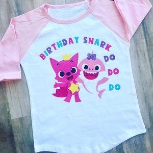 280f85bae Shirts & Tops   Personalized Baby Shark Birthday Raglan Tee Pink ...